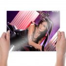Penthouse Girl On Motorcycle  Art Poster Print  24x18 inch