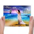Fantasy Girl Sailing Ship  Art Poster Print  24x18 inch