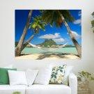 Hammock On The Beach  Art Poster Print  24x18 inch