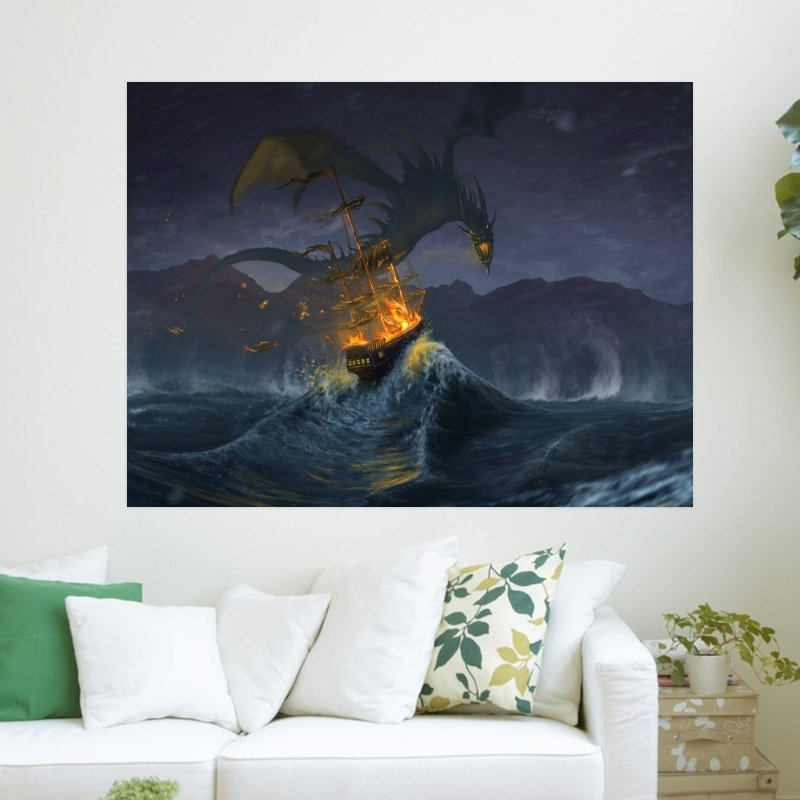 Flying Dragon Attack  Art Poster Print  24x18 inch