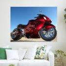 Red Motorbike Hd  Art Poster Print  24x18 inch