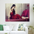 Lady In Red Dress  Art Poster Print  24x18 inch