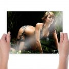 Hot Lady In Forest  Art Poster Print  24x18 inch