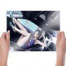 Hot Girl In Car  Art Poster Print  24x18 inch