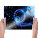 Blue Neon Lights  Art Poster Print  24x18 inch