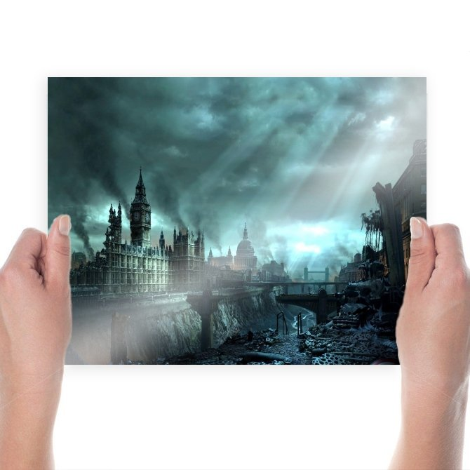 London Under Disaster  Art Poster Print  24x18 inch