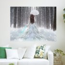 Girl In White Forest  Art Poster Print  24x18 inch