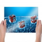 3d Dice Packed In Ice Cubes  Art Poster Print  24x18 inch