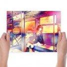 Anime Girl Taking Subway  Art Poster Print  24x18 inch