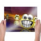 Huge 3d Smiley Faces  Art Poster Print  24x18 inch