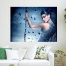 Mysterious Lady  Art Poster Print  24x18 inch