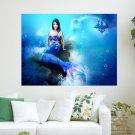 Beautiful Blue Mermaid  Art Poster Print  24x18 inch