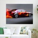 Car On Fire  Art Poster Print  24x18 inch