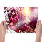 Beautiful Young Woman In A Futuristic City  Art Poster Print  24x18 inch
