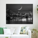 Moon At Night  Art Poster Print  24x18 inch