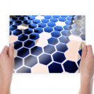 White And Blue  Art Poster Print  24x18 inch
