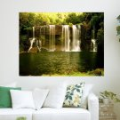 Waterfall In Forest  Art Poster Print  24x18 inch