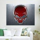 Red Skull Metallic  Art Poster Print  24x18 inch