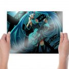 Miku Playing Guitar  Art Poster Print  24x18 inch