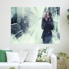 Alone In Chilly Winter Street  Art Poster Print  24x18 inch