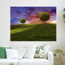 2 Trees In The Sunshine  Art Poster Print  24x18 inch
