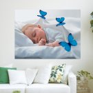 Baby Sleeping With Butterflies  Art Poster Print  24x18 inch