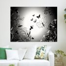Butterflies In Black And White  Art Poster Print  24x18 inch