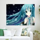 Cute Miku And Snowflakes  Art Poster Print  24x18 inch