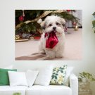 Puppy Waiting For Christmas  Art Poster Print  24x18 inch