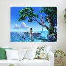 Fantasy Paradise Beach  Art Poster Print  24x18 inch