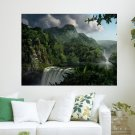 Waterfall And Mountain  Art Poster Print  24x18 inch