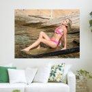 Hot Girl In Pink Bikini  Art Poster Print  24x18 inch