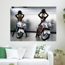 Women And Motorcycles  Art Poster Print  24x18 inch
