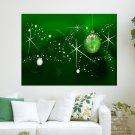 Green Christmas  Art Poster Print  24x18 inch