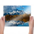 Snow Mountain  Art Poster Print  24x18 inch