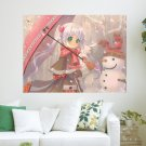 Snowman And Anime Girl  Art Poster Print  24x18 inch