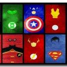 Minimalist Comic Figures Symbol Poster Captain America Hulk Spider Man Superman