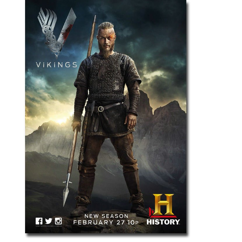 VIKINGS TV Series Poster Ragnar Lothbrok 32x24