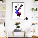 Colorful Deer Head Minimalist Art Canvas Poster Modern Home Room Decor 32x24