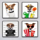 Cute Dog Minimalist Art Canvas Poster Funny Animal Picture Wall Decor 32x24