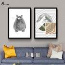 Bear Animal Minimalist Art Canvas Poster Geometry Pictures Modern Decor 32x24