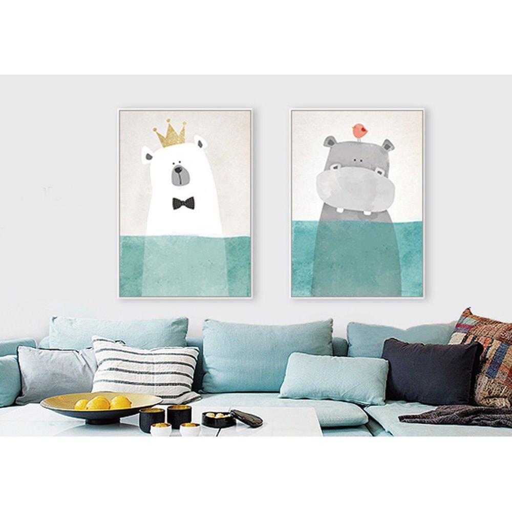 Cute Cartoon Animal Minimalist Art Canvas Poster Modern Home Wall Decor 32x24