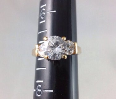 Size 7 Engagement Ring, Gold Tone, Bling Bling Fake Diamond