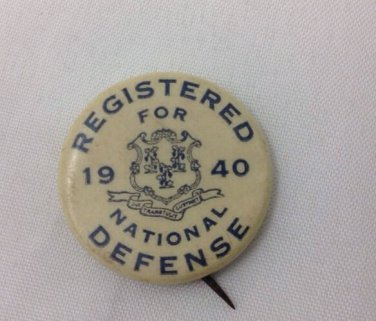 Scarce 1940 Registered For National Defense pin Ww2