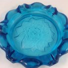 Vintage Tiara Blenko Art Glass BLUE HUGE CIGAR Ashtray FLOWER MEDALLION 9.75""