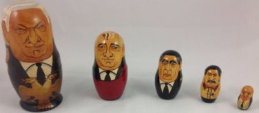 NESTING DOLL MATRTOSHKA 5 SOVIET POLITICAL LEADERS RUSSIA  SOVIET UNION SIGNED
