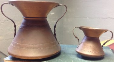 VINTAGE COPPER SPITTOON SET, MINI DECORATIVE METALWARE GREAT VASE OR DISPLAY