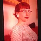 Vintage Slide Portrait Of Attractive Classy Young Lady With Glasses