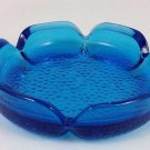VINTAGE ASHTRAY OCEAN BLUE W PEBBLE GLASS BOTTOM RETRO THROW BACK