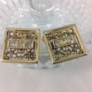 Vintage Bling Cuff Links Gold Tone With Fo Diamonds